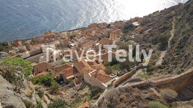 Houses on the hill in the old town of Monemvasia Greece