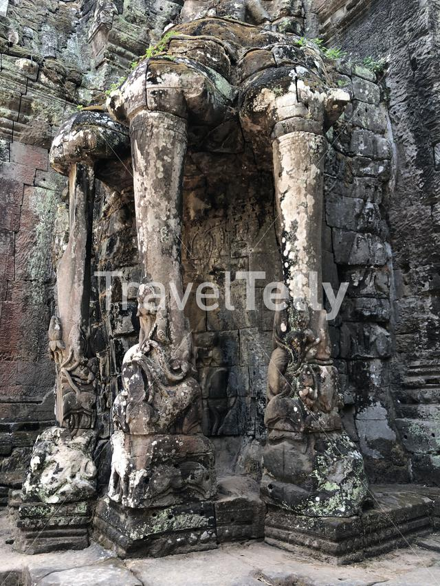 Statues at the Victory Gate at Angkor in Cambodia