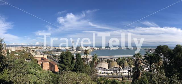 Panorama from Port Vell Aerial Tramway in Barcelona, Spain