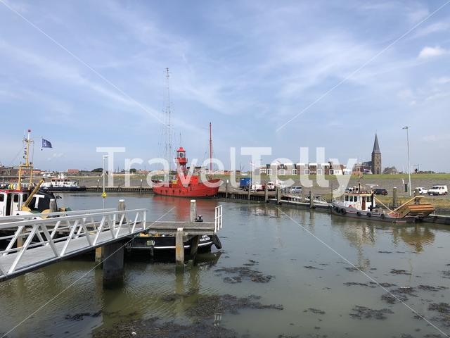 Boats at the Havenmond and waddensea in Harlingen, Friesland The Netherlands