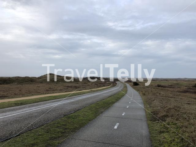 Road on Texel island in The Netherlands