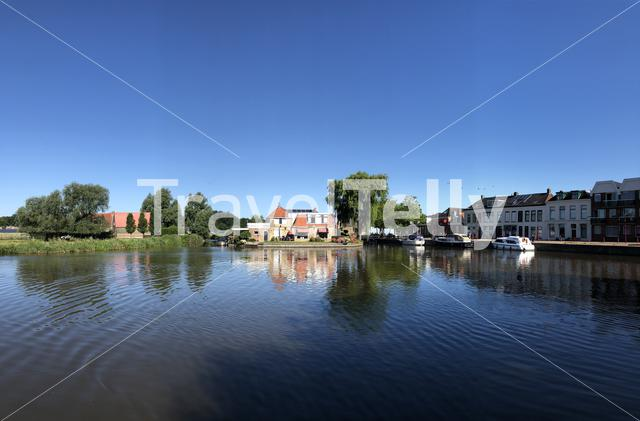 Panorama from the city canal in Bolsward, The Netherlands