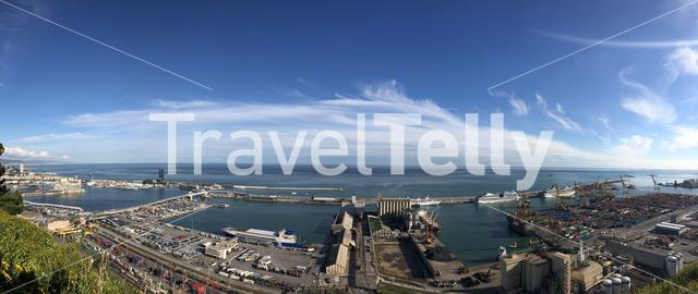 Panorama view from the Montjuïc Castle in Barcelona Spain