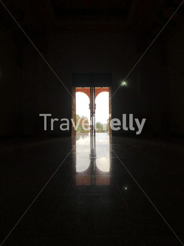 Door at a buddhist Temple next to the Pha That Luang in Vientiane Laos