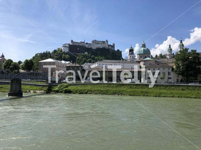 The Mozartsteg bridge over the Salzach river in Salzburg, Austria