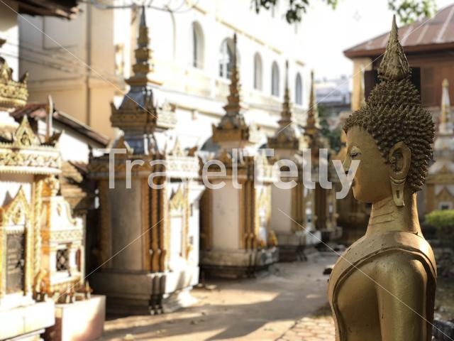 Buddha statue at Vat Haysoke a buddhist temple in Vientiane Laos