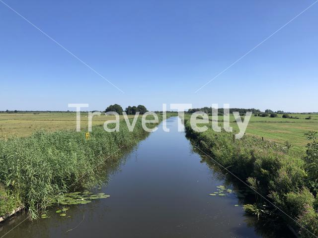Canal around Pingmar in Friesland, The Netherlands
