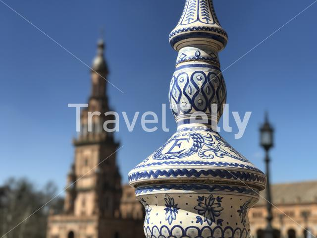 Painted pillars at Plaza de Espana in Seville Spain