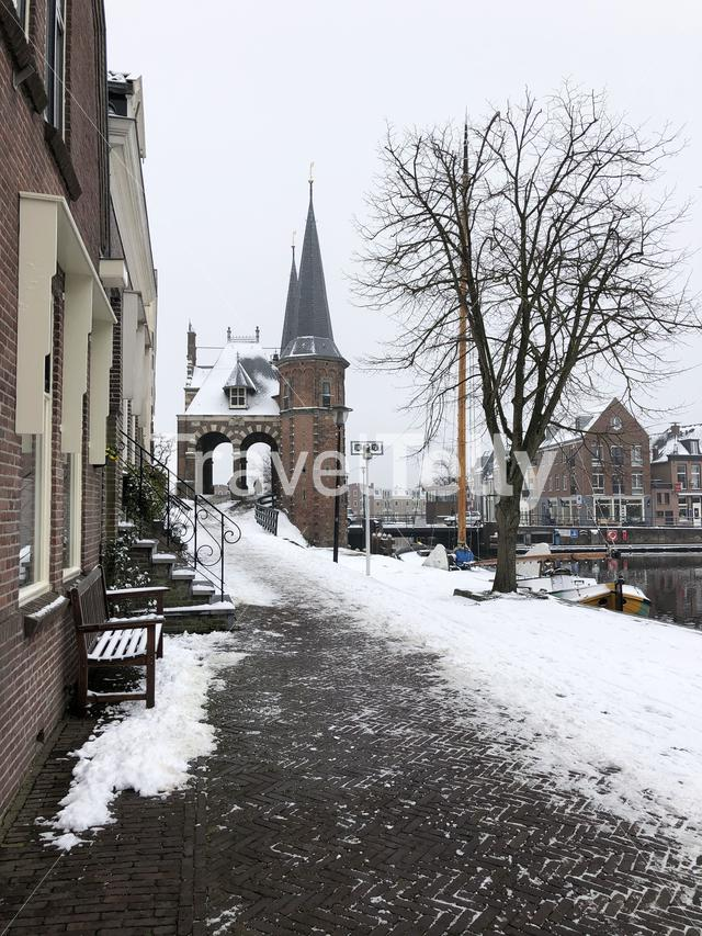 Path towards Tthe Watergate during winter in Sneek, The Netherlands