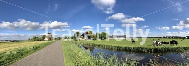 Panoramic landscape from Friesland in The Netherlands