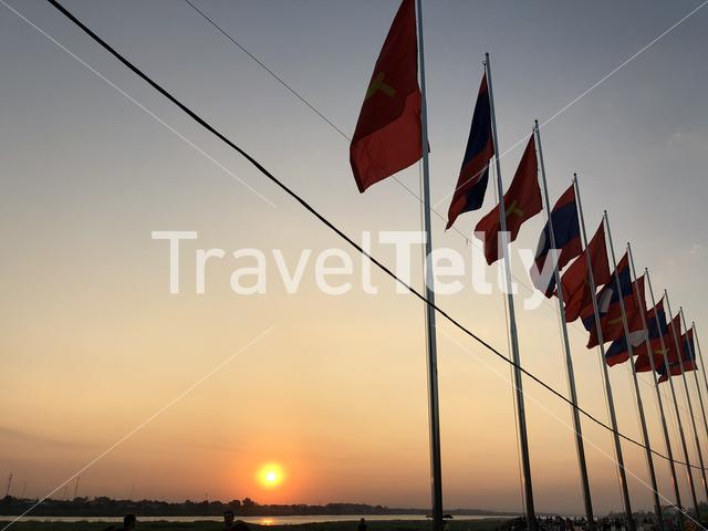 Sunset at the Mekong river in Vientiane, Laos
