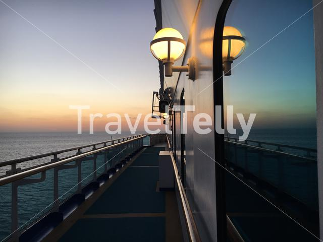 Silence onboard cruise ship, early morning sun rise. Eyespiration mindfulness moment Mexican Riviera.