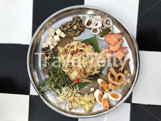 Plate of Yum seafood in Bangkok, Thailand