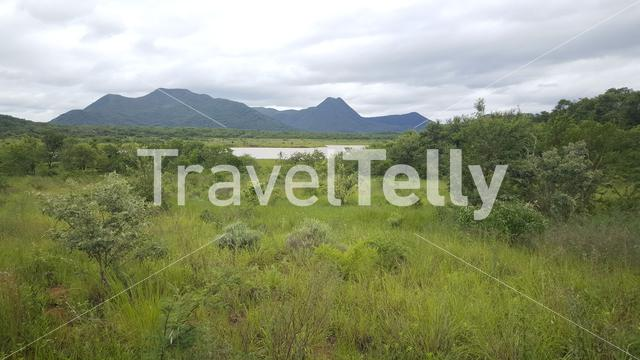 Mountain range scenery in Kyle Game Reserve, Zimbabwe