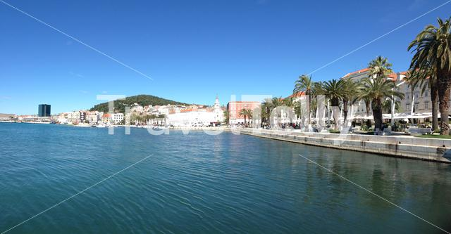 Panorama from the boulevard in Split Croatia on a summer day
