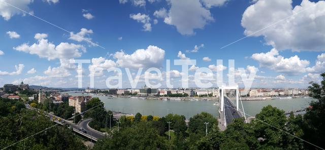 Panorama view over Budapest from the Gellért Hill in Hungary