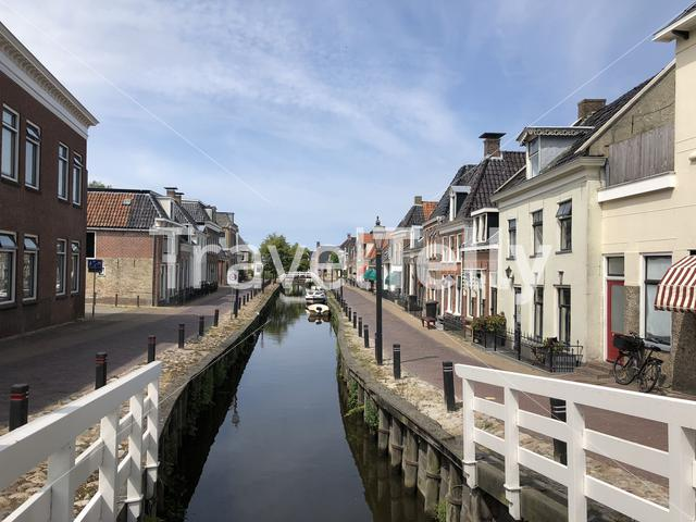 Canal in Kollum in Friesland The Netherlands