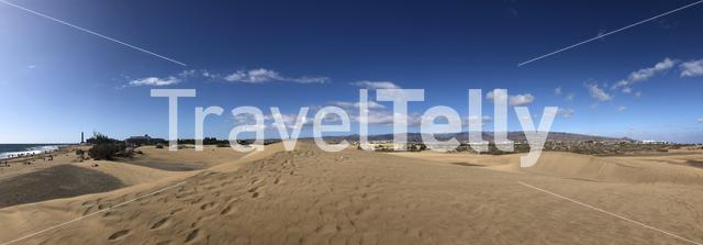 Panorama from Natural Dune Reserve of Maspalomas on Gran Canaria