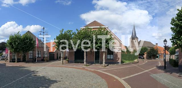 Panorama from a old town square in Gramsbergen, The Netherlands