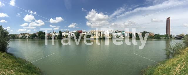 Panorama from the Canal de Alfonso XIII in Seville Spain