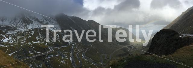 Panorama from the Transfagarasan mountain road crossing the southern section of the Carpathian Mountains of Romania