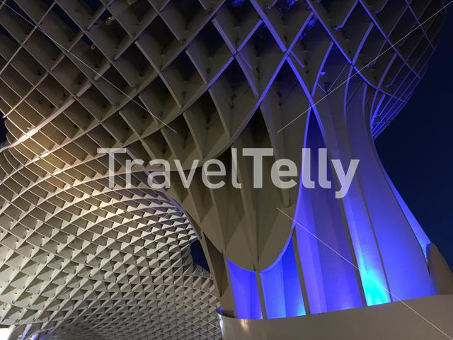 Close up from the Metropol Parasol at night in Seville Spain