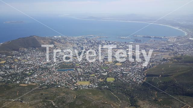 View over Cape Town from the Table Mountain in South Africa
