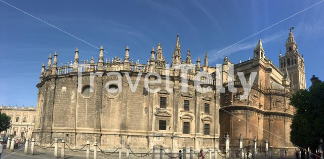 Panorama from the Seville Cathedral with the La Giralda (Bell tower) in Spain