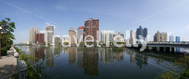 Panorama from the Love River in Kaohsiung City Taiwan