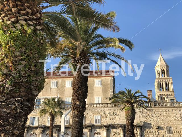 Old town of Split with the Bell Tower of St. Domnius in Croatia