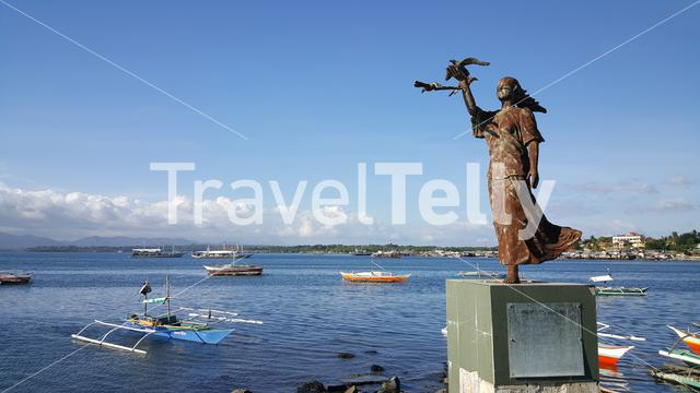 Female statue on Baywalk, waterside promenade, Puerto Princesa, Palawan, Philippines