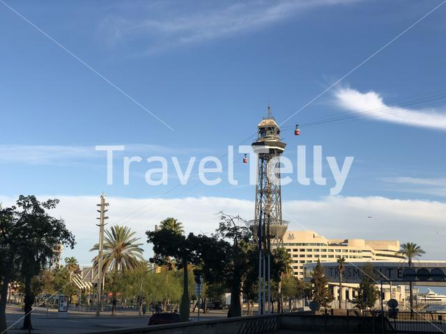 Port Vell Aerial Tramway in Barcelona Spain