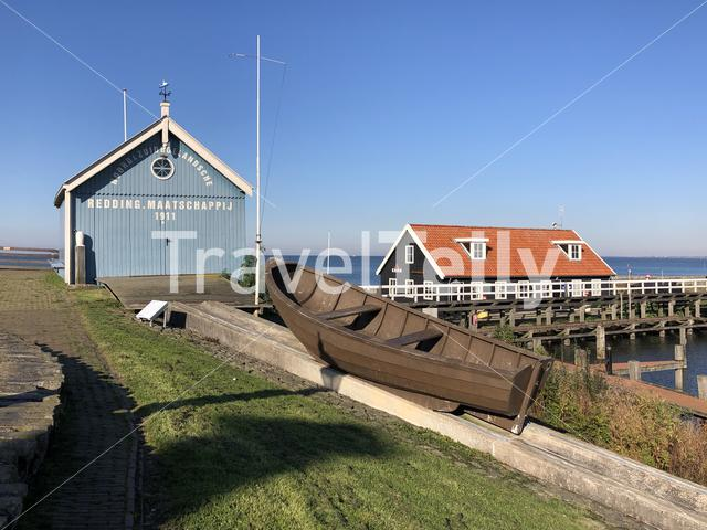 Rescue building in Hindeloopen during autumn in Friesland, The Netherlands