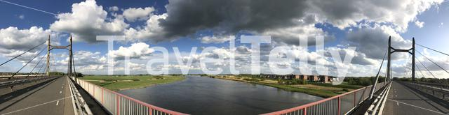 Panoramic view from the bridge over the IJssel river in The Netherlands