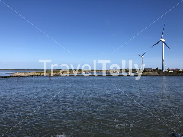 Harbor and windmills on the island Borkum in Germany
