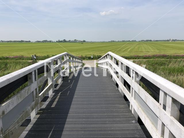 Bridge over a canal in Friesland The Netherlands