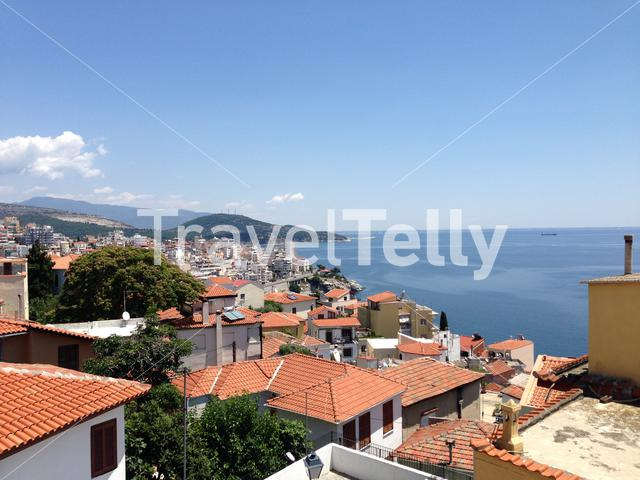 View over the old town of Kavala Greece