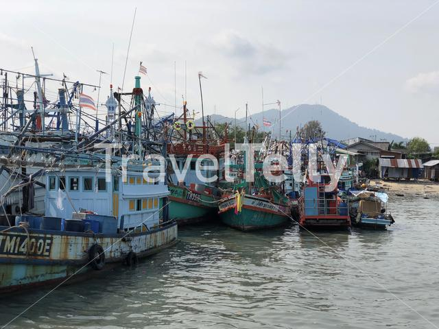 Fishing boats in the harbor of Rayong, Thailand