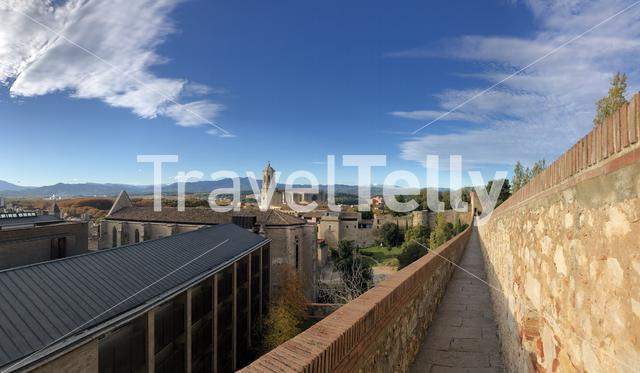 Panorama from the city wall in Girona, Spain