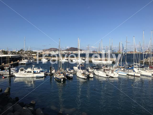 Sailboats in the harbour of Las Palmas