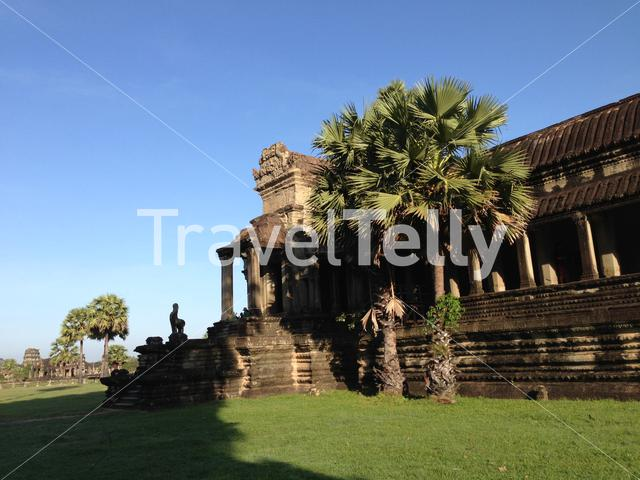 Outer gallery with corner pavilions at Angkor Wat a temple complex in Cambodia