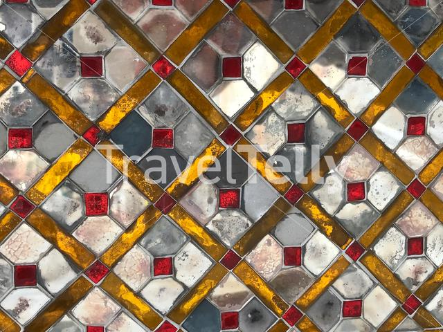 Glass pattern at the Wat Trai Mit Golden Buddha Temple in Bangkok Thailand