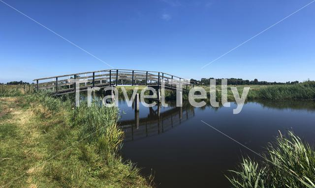 Bridge over river in Friesland, The Netherlands