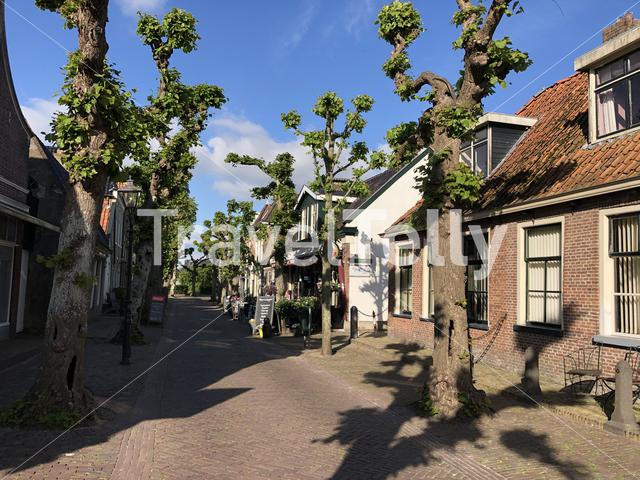 Street downtown Langweer Friesland The Netherlands
