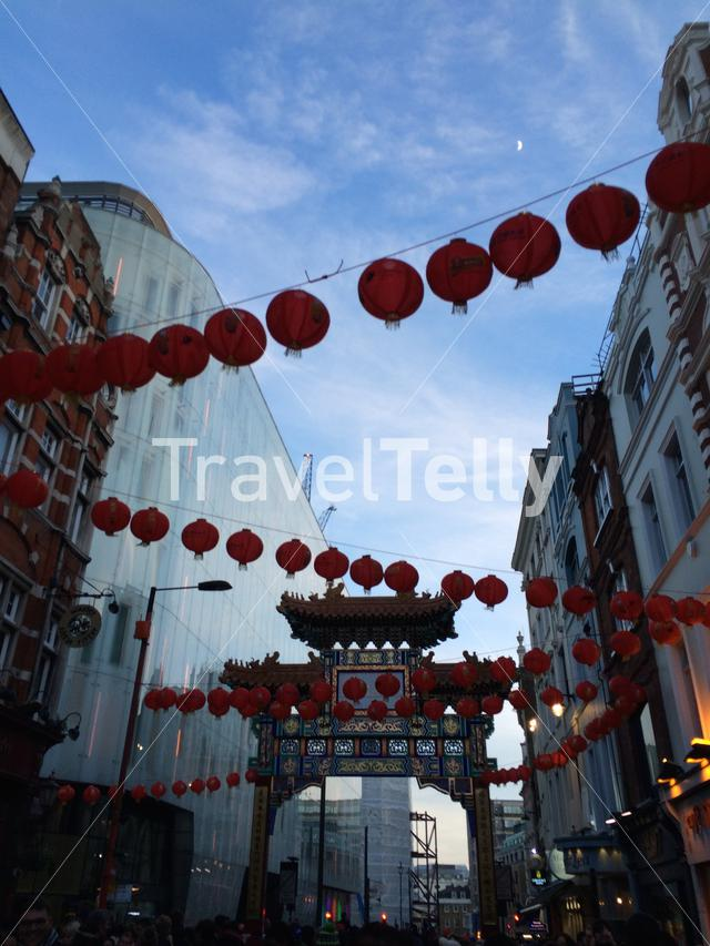 Chinatown in London decorated for a festival