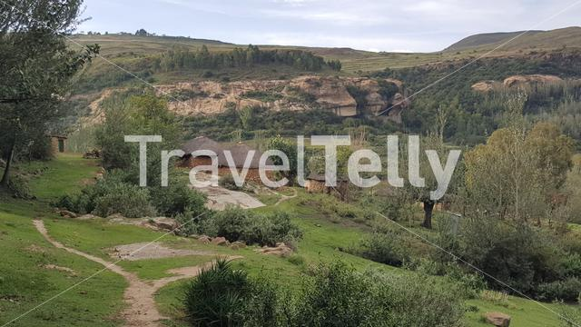 Path towards a house in Lesotho Africa