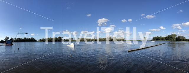 Panorama from the water ski course around Sneek, Friesland The Netherlands