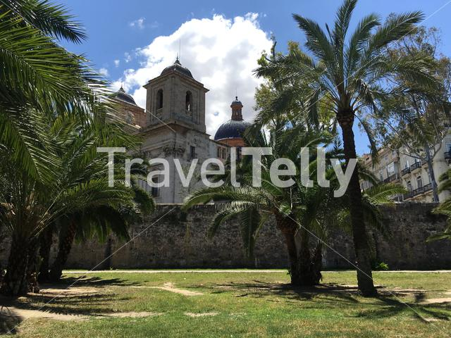 Iglesia del Temple from the riverbed at the Turia Gardens in Valencia Spain