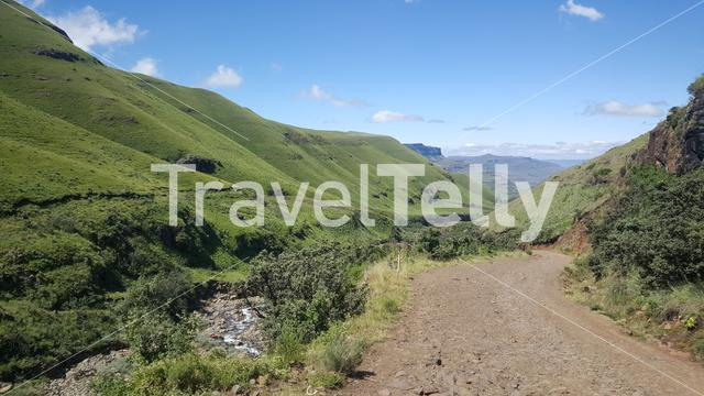 Road through the Drakensberg Mountain Range in South Africa