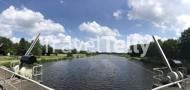 Canal lock in the river Vecht around Vilsteren, Overijssel, The Netherlands
